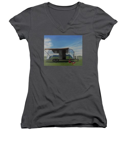 Reflections Of The Airstream Factory Women's V-Neck (Athletic Fit)