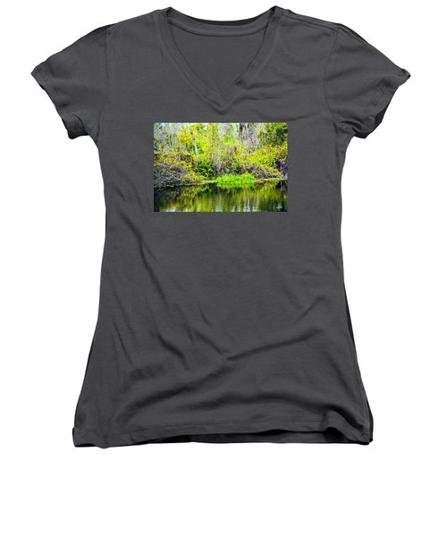 Women's V-Neck T-Shirt (Junior Cut) featuring the photograph Reflections On A Beautiful Day by Madeline Ellis
