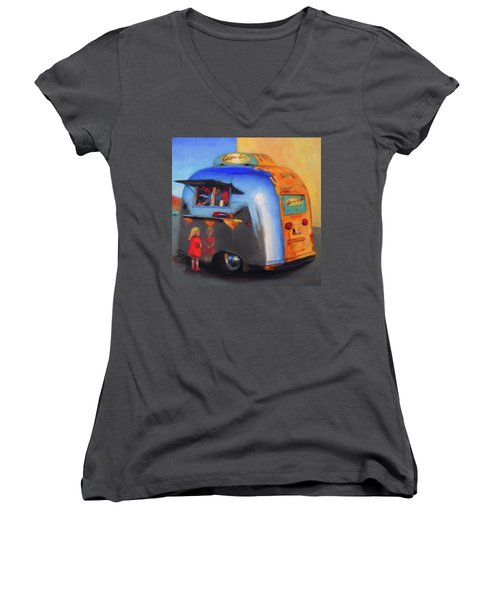 Reflections On An Airstream Women's V-Neck (Athletic Fit)