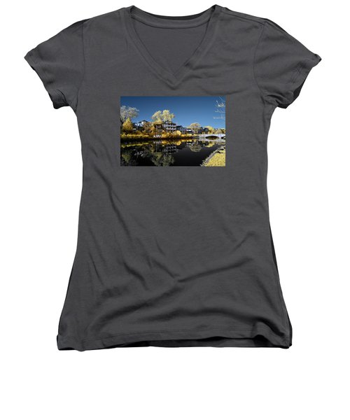 Reflections On Wesley Lake Women's V-Neck T-Shirt (Junior Cut) by Paul Seymour