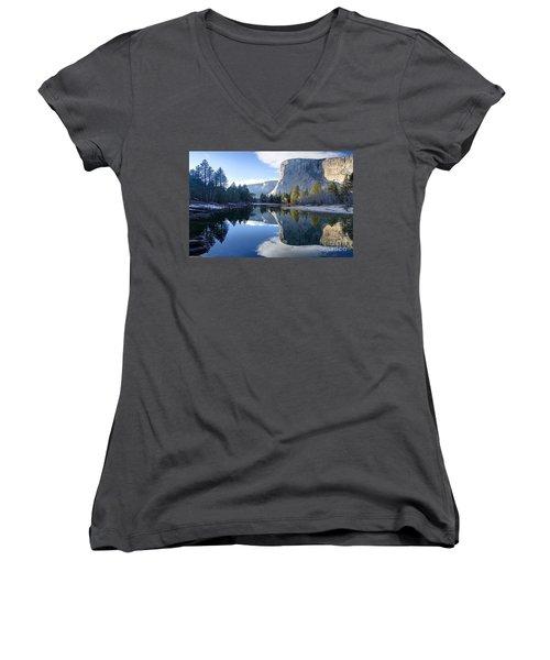 Reflections Women's V-Neck T-Shirt (Junior Cut) by Rod Jellison