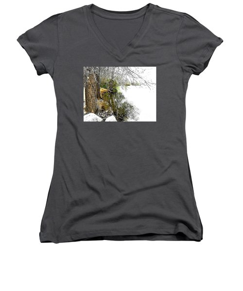 Reflective Trees Women's V-Neck (Athletic Fit)