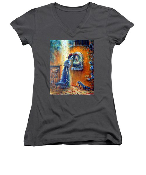 Women's V-Neck T-Shirt (Junior Cut) featuring the painting Reflejo De Frida by Heather Calderon