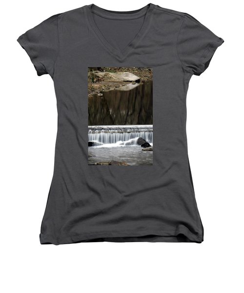 Reflexions And Water Fall Women's V-Neck T-Shirt (Junior Cut) by Dorin Adrian Berbier