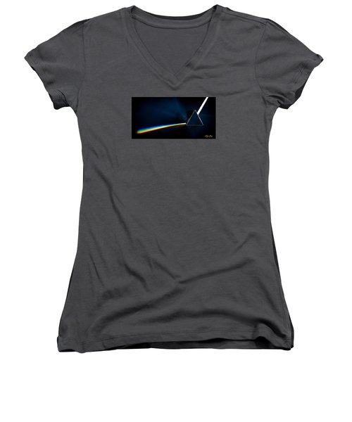 Refraction  Women's V-Neck T-Shirt (Junior Cut) by Rikk Flohr