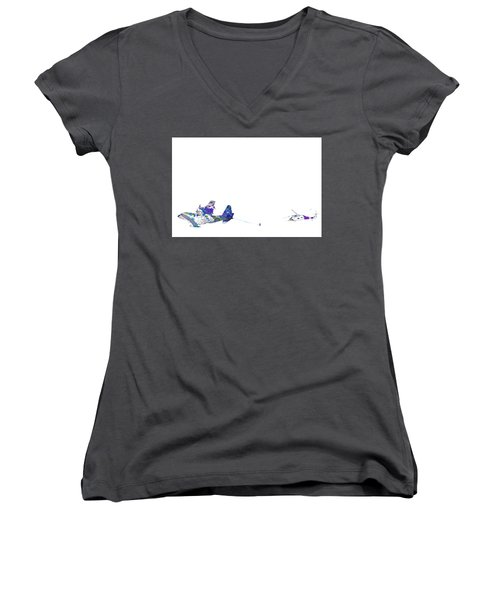 Women's V-Neck T-Shirt (Junior Cut) featuring the digital art Refueling Watercolor On White by Bartz Johnson
