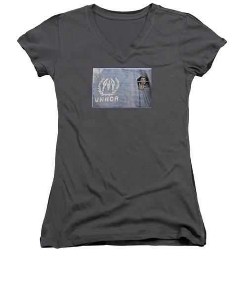 Refugees Syria Women's V-Neck T-Shirt (Junior Cut) by Vikram Singh