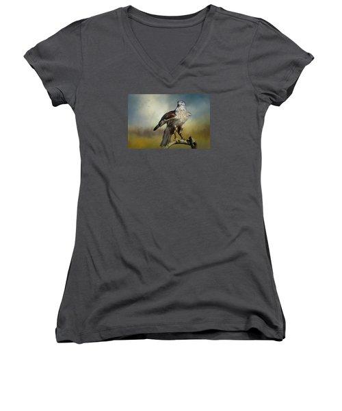 Regal Bird Women's V-Neck T-Shirt (Junior Cut) by Barbara Manis