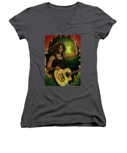 Reggae Peace Man Women's V-Neck T-Shirt