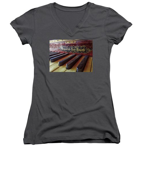 Women's V-Neck T-Shirt (Junior Cut) featuring the photograph Registered Key Board by Linda Unger