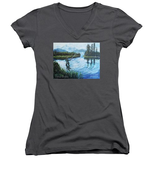 Relaxing @ Fly Fishing Women's V-Neck (Athletic Fit)