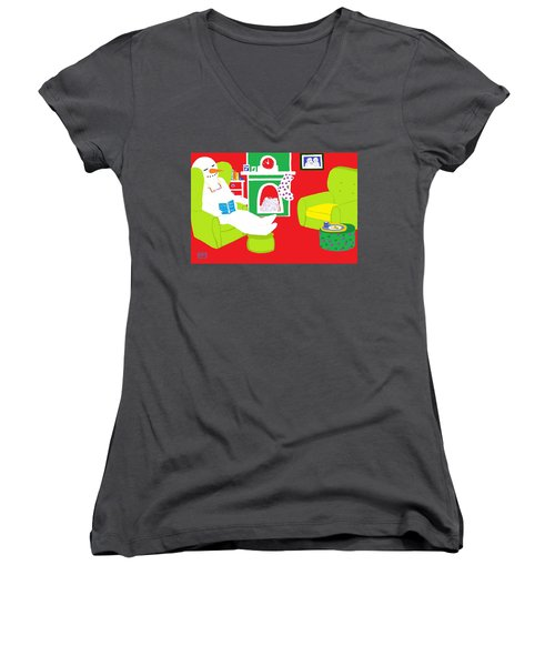Women's V-Neck T-Shirt (Junior Cut) featuring the digital art Relaxing Snowman by Barbara Moignard