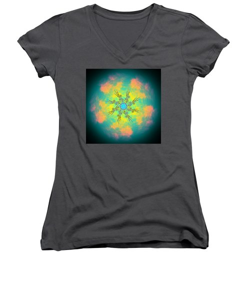Women's V-Neck featuring the digital art Reluctured by Andrew Kotlinski