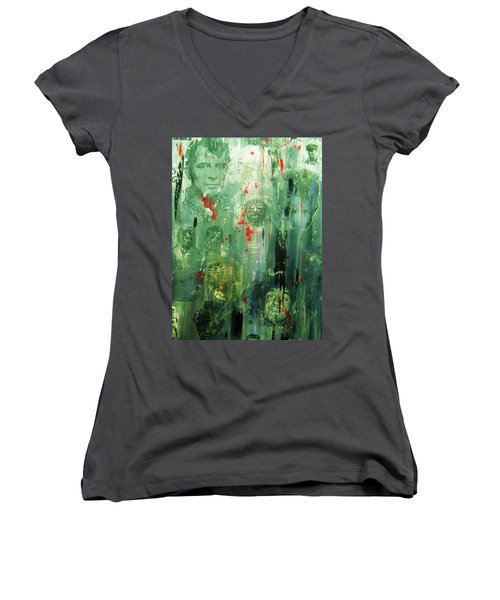 Remembering Kerouac Women's V-Neck T-Shirt (Junior Cut) by Roberto Prusso