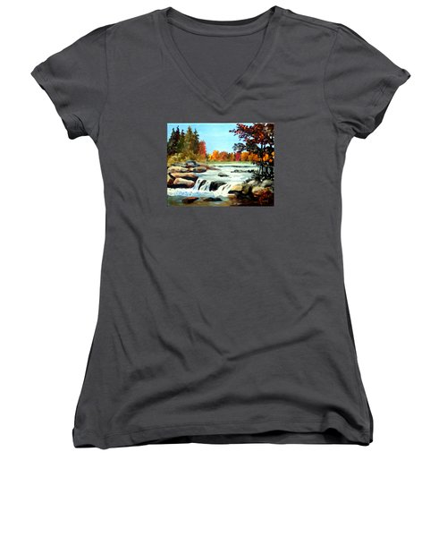 Women's V-Neck T-Shirt (Junior Cut) featuring the painting Remembering The Little Broad River by Jim Phillips