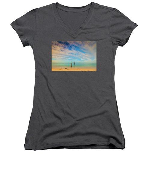 Remenants Women's V-Neck T-Shirt (Junior Cut) by David Cote