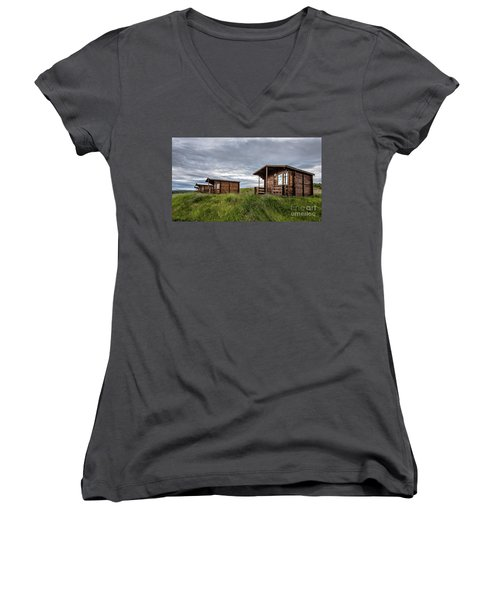 Women's V-Neck T-Shirt featuring the photograph Remote Cabins Myvatn Iceland by Edward Fielding