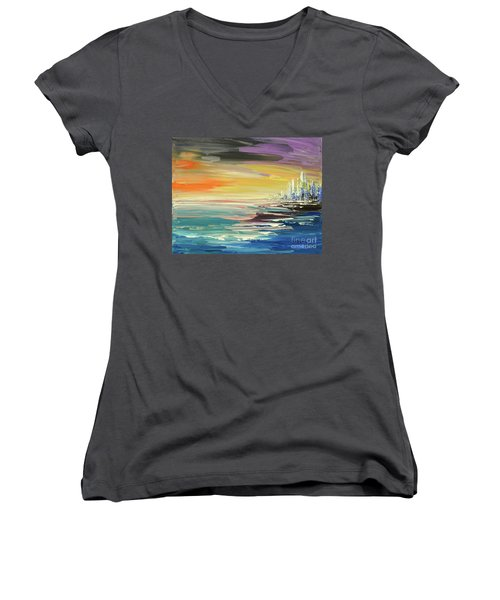 Women's V-Neck T-Shirt (Junior Cut) featuring the painting Remote Harmonies by Tatiana Iliina