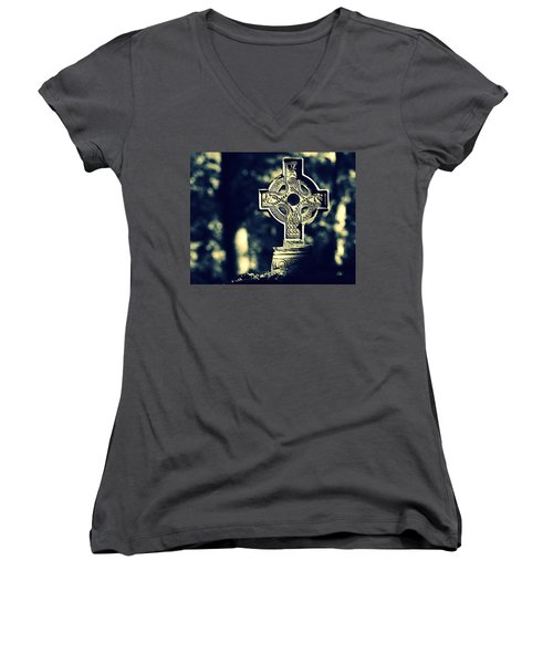 Renaissance Cross Women's V-Neck T-Shirt (Junior Cut) by Joseph Skompski