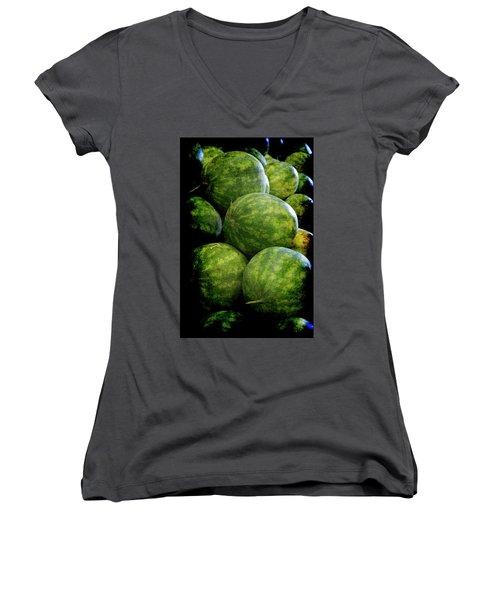 Renaissance Green Watermelon Women's V-Neck (Athletic Fit)