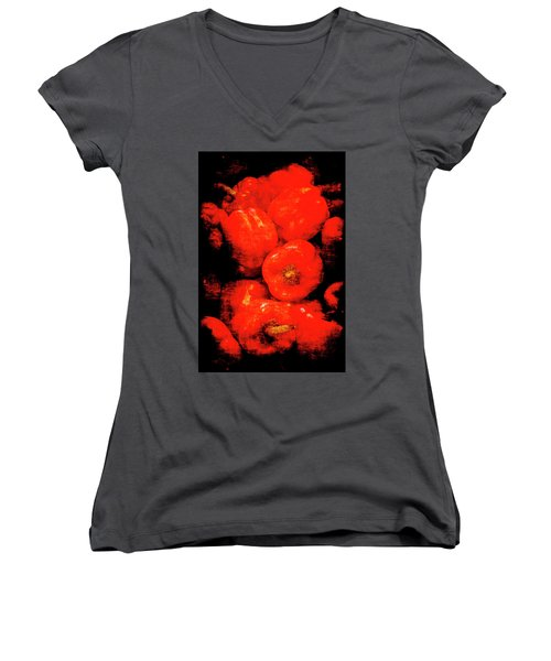 Renaissance Red Peppers Women's V-Neck (Athletic Fit)