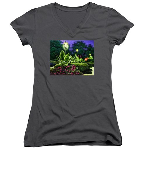 Women's V-Neck T-Shirt (Junior Cut) featuring the painting Rendezvous In The Park by Michael Frank