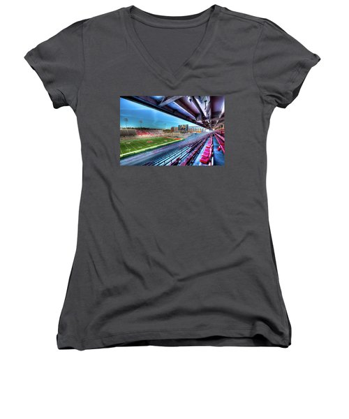 Renovated Martin Stadium Women's V-Neck T-Shirt (Junior Cut) by David Patterson