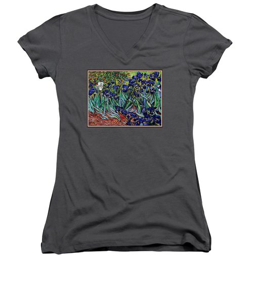 replica of Van Gogh irises Women's V-Neck T-Shirt (Junior Cut) by Pemaro