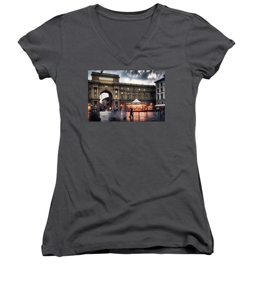 Republic Square In The City Of Florence Women's V-Neck