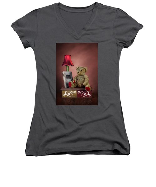 Women's V-Neck T-Shirt (Junior Cut) featuring the photograph Required Reading by Tom Mc Nemar
