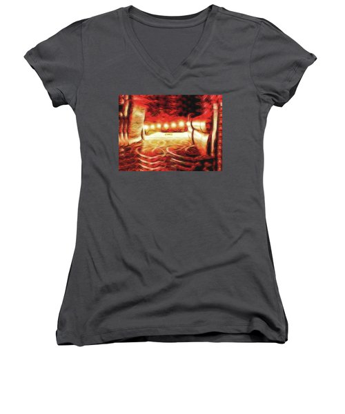 Women's V-Neck T-Shirt featuring the digital art Reservations - Row C by Wendy J St Christopher