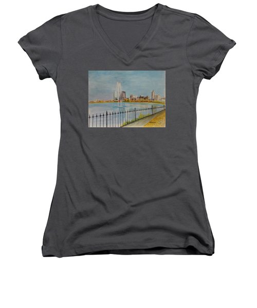 Reservoir In Central Park Women's V-Neck (Athletic Fit)