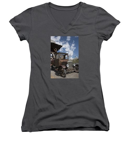 Rest Stop Women's V-Neck T-Shirt (Junior Cut) by Annette Berglund