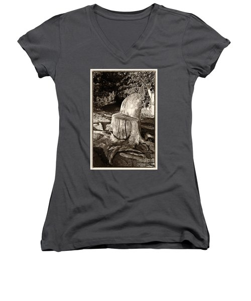 Rest Stop Women's V-Neck T-Shirt (Junior Cut) by Vinnie Oakes
