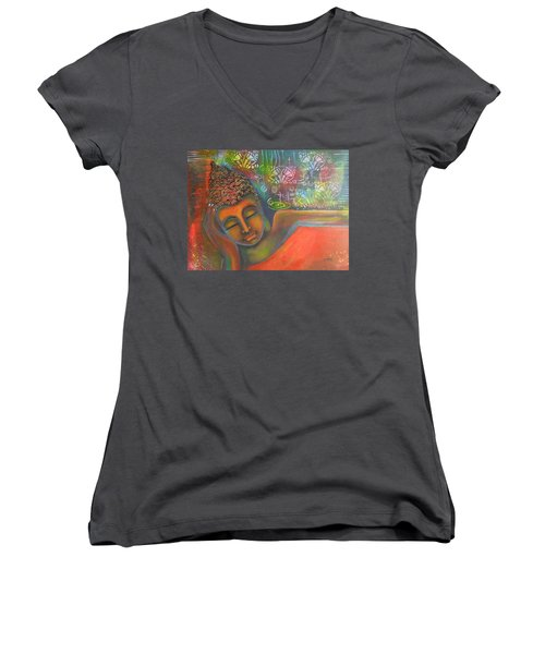 Buddha Resting Against A Colorful Backdrop Women's V-Neck T-Shirt