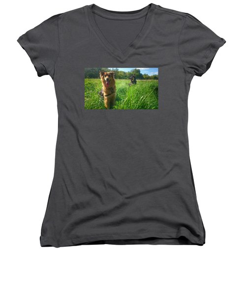 Resting Women's V-Neck T-Shirt (Junior Cut) by Isabella F Abbie Shores FRSA