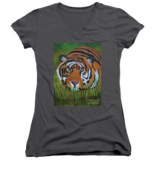 Resting Tiger  Women's V-Neck T-Shirt (Junior Cut) by Myrna Walsh