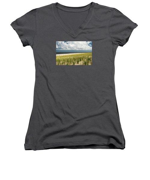 Restoring The Sand Dunes Women's V-Neck T-Shirt (Junior Cut) by Gary Slawsky