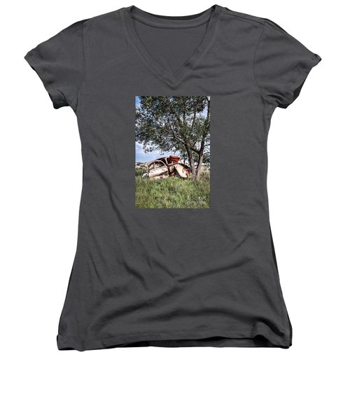 Women's V-Neck T-Shirt (Junior Cut) featuring the photograph Retired Bug by Lawrence Burry