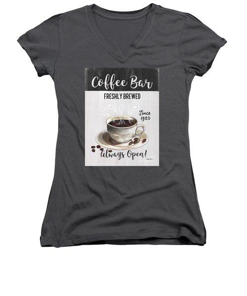 Women's V-Neck T-Shirt (Junior Cut) featuring the painting Retro Coffee Shop 2 by Debbie DeWitt