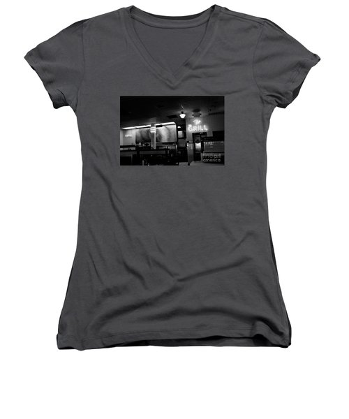 Retro Diner In Athens, Georgia -black And White Women's V-Neck (Athletic Fit)