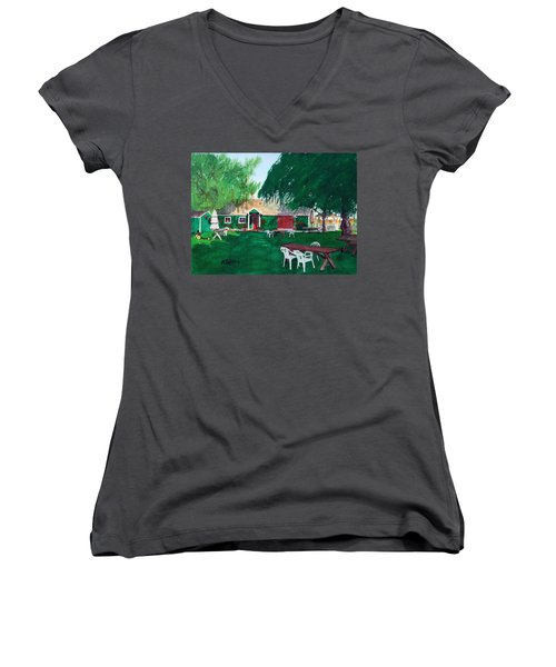 Retzlaff Winery Women's V-Neck T-Shirt (Junior Cut) by Mike Robles