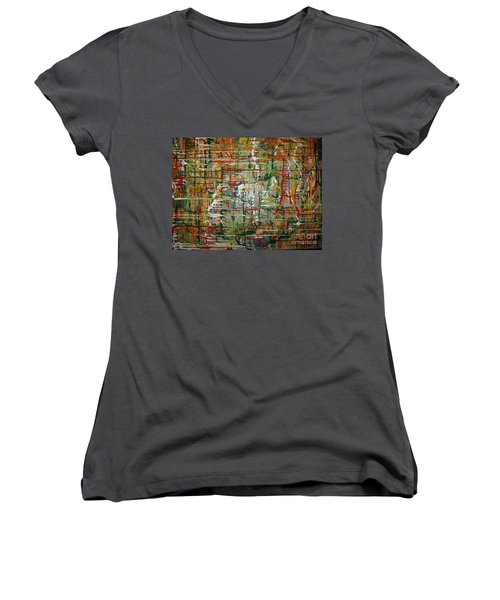 Women's V-Neck T-Shirt (Junior Cut) featuring the painting Revelation by Jacqueline Athmann