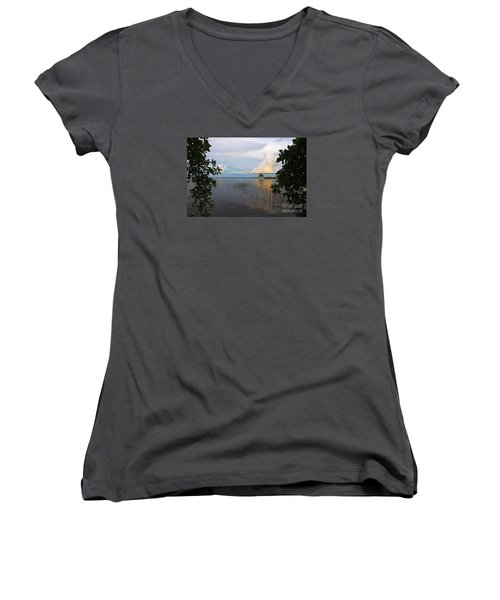 Women's V-Neck T-Shirt (Junior Cut) featuring the photograph Revealing The Lagoon by Yuri Santin
