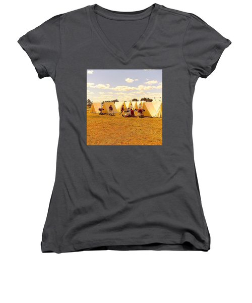 A Revolutionary Day  Women's V-Neck T-Shirt (Junior Cut) by Kate Arsenault