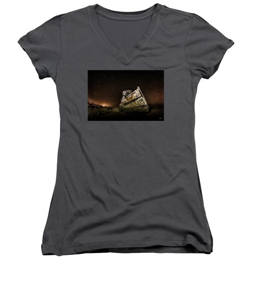 Women's V-Neck T-Shirt (Junior Cut) featuring the photograph Reyes Shipwreck by Everet Regal