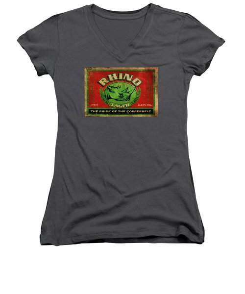 Women's V-Neck T-Shirt (Junior Cut) featuring the digital art Rhino Lager by Greg Sharpe
