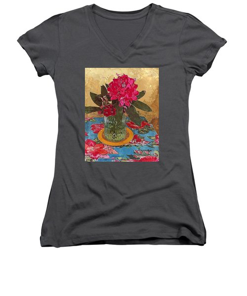 Rhododendron Women's V-Neck T-Shirt (Junior Cut) by Alexis Rotella