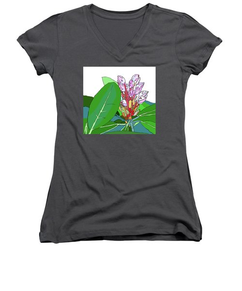 Rhododendron Graphic Women's V-Neck T-Shirt (Junior Cut) by Jamie Downs