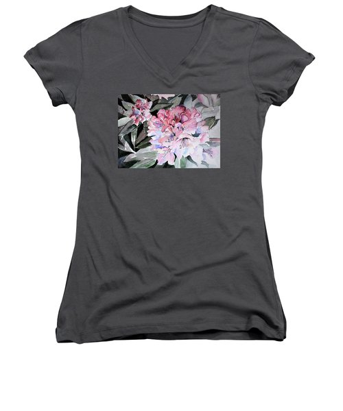 Rhododendron Rose Women's V-Neck T-Shirt
